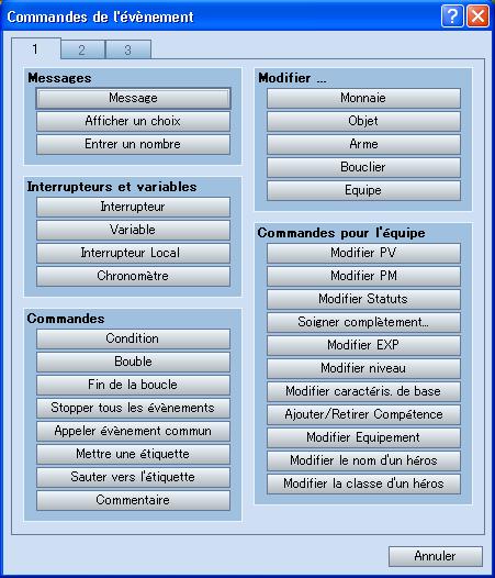 La fenêtre des commandes d'évènement sous RPG maker VX