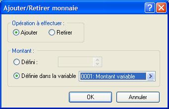 Ajout du montant à l'aide de la variable 'Montant variable'