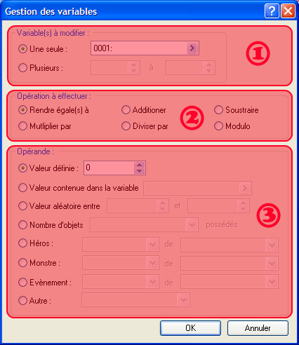 Commande d'évènement: Gestion des variables => fenêtre