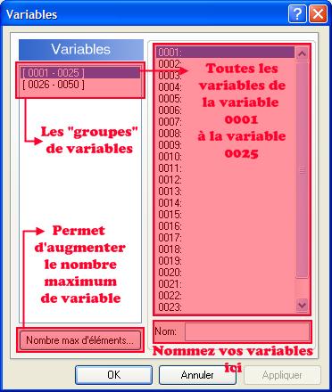 Commande d'évènement: Gestion des variables => fenêtre => Variable(s) à modifier => Nommer une variable