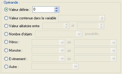 Commande d'évènement: Gestion des variables => Opérande