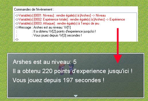 Commande d'évènement: Afficher un message => dans le jeu
